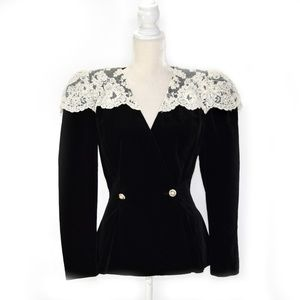 WATTERS & WATTERS Vintage Black Velvet Lace Jacket